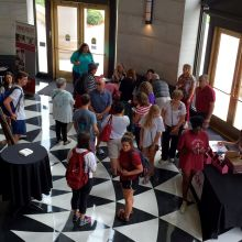Aerial view of chocolate festival visitors gathered in the Shelby Hall Rotunda