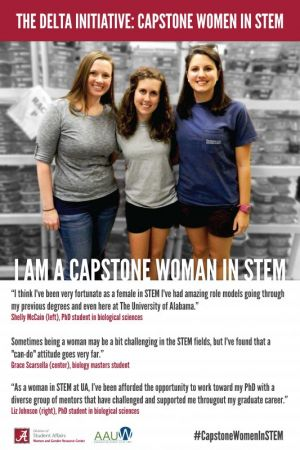 Three Capstone Women in STEM from the Earley Lab pose for a picture